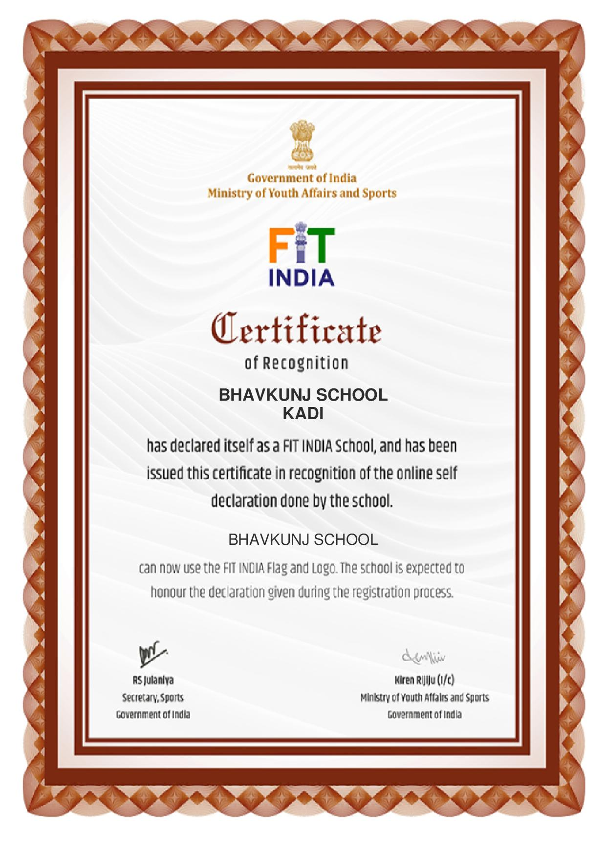 Bhavkunj School has been awarded Fit India Certificate from the Government of India Ministry of Youth Affair and Sports
